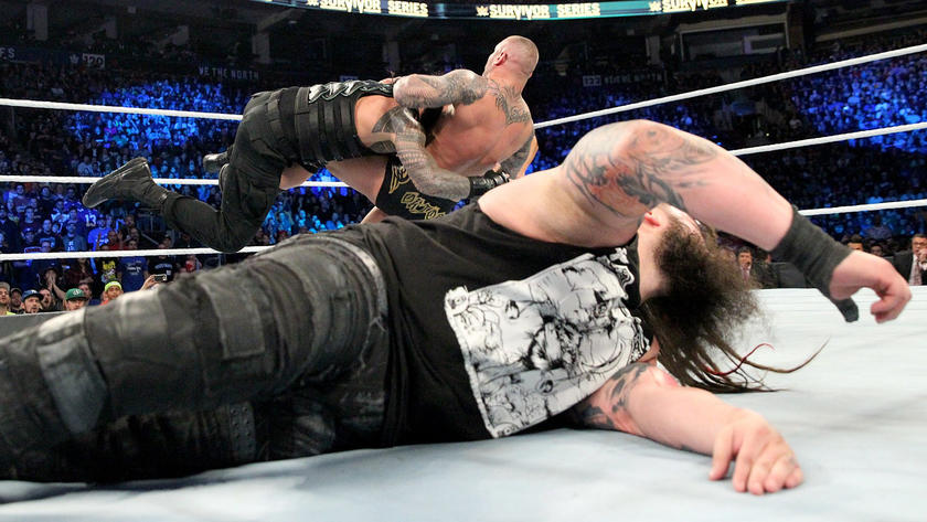 Orton sacrifices himself to save the Wyatt Family patriarch from a Spear by The Big Dog.