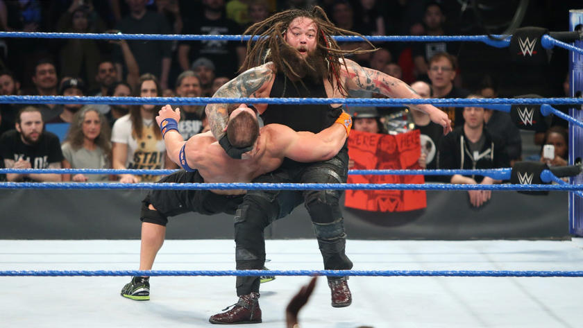 Wyatt takes advantage of Cena temporarily eliminating Styles and hits The Cenation Leader with the Sister Abigail for the win.