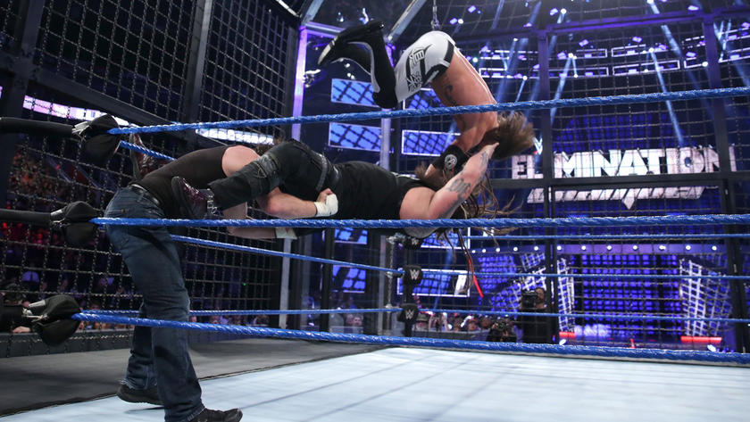 AJ Styles takes a devastating fall off the pod as he suffers the worst of a Tower of Doom-like maneuver.