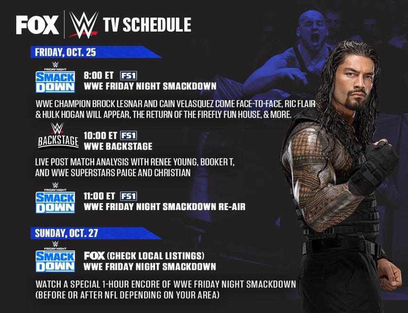 Tune in to FS1 and FOX this weekend for special WWE