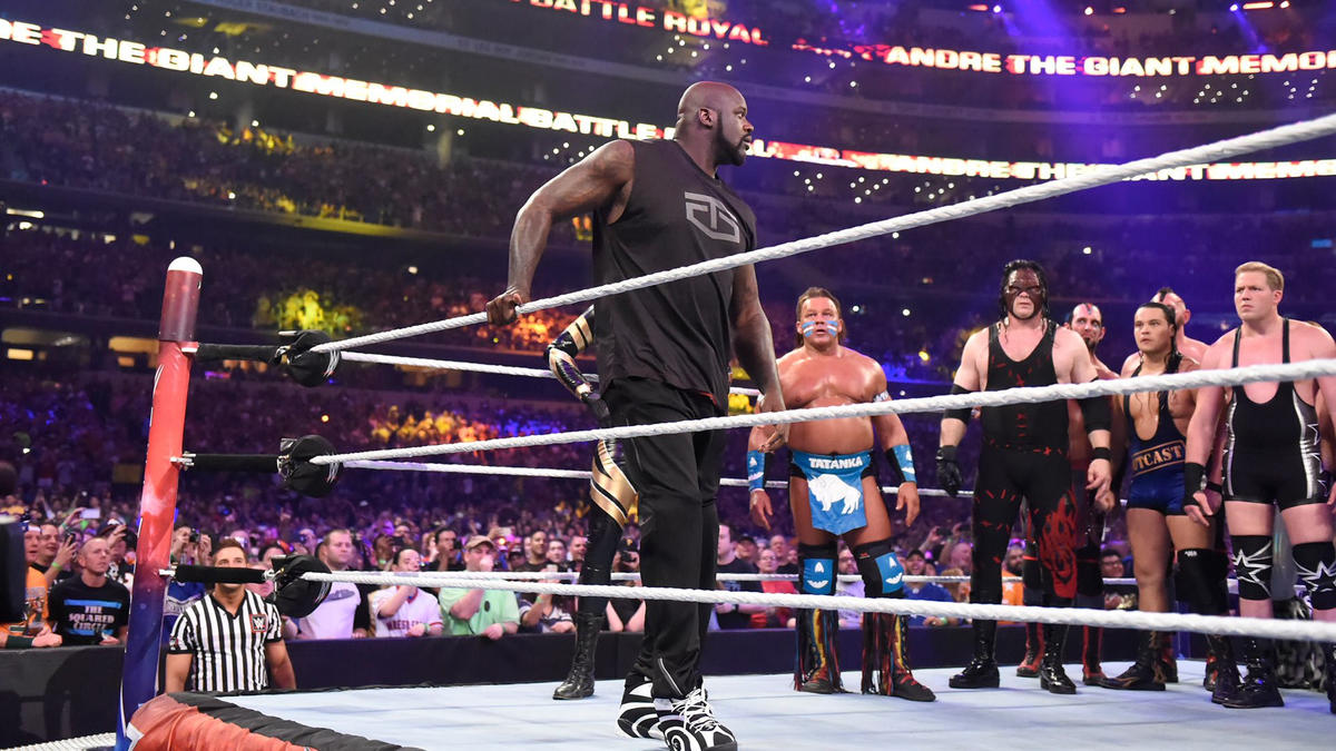 Shaquille O'Neal entered the Andre the Giant Memorial Battle Royal at WrestleMania 32