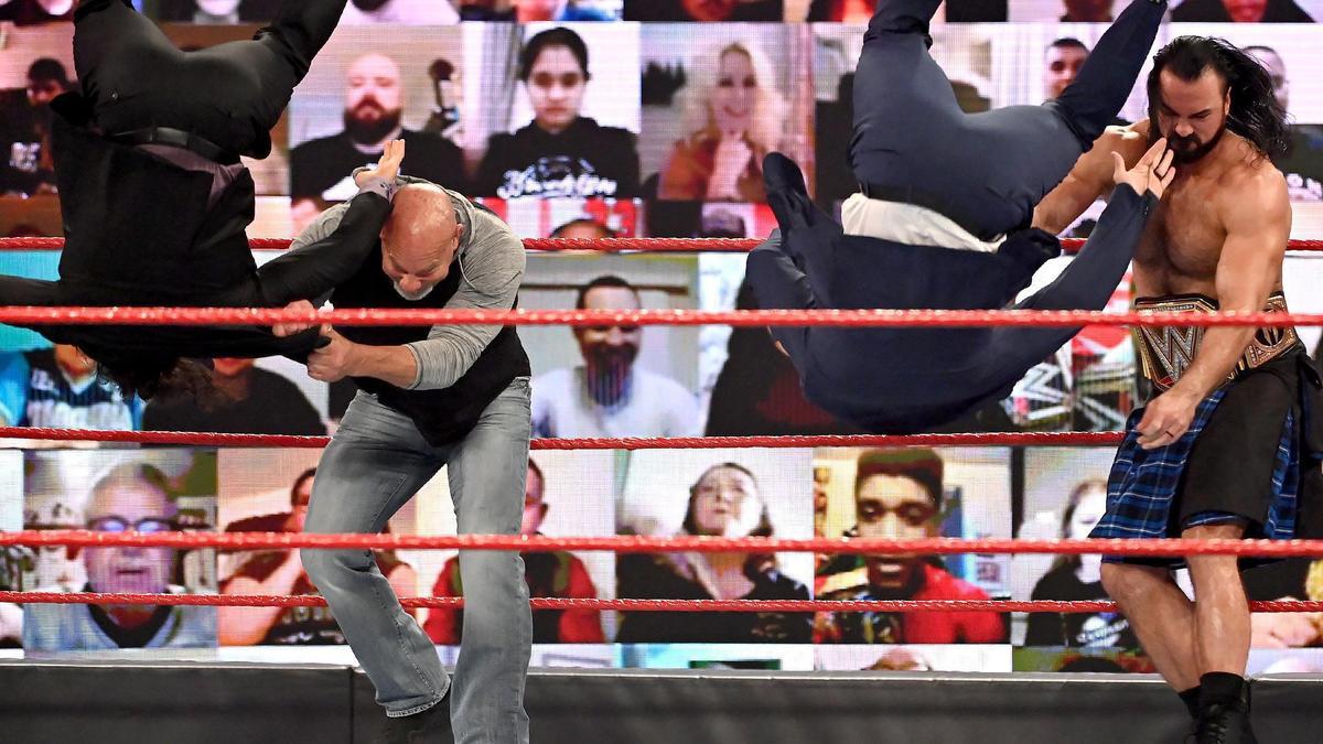Drew McIntyre and Goldberg take out The Miz & John Morrison: Raw, Jan. 25,  2021   WWE