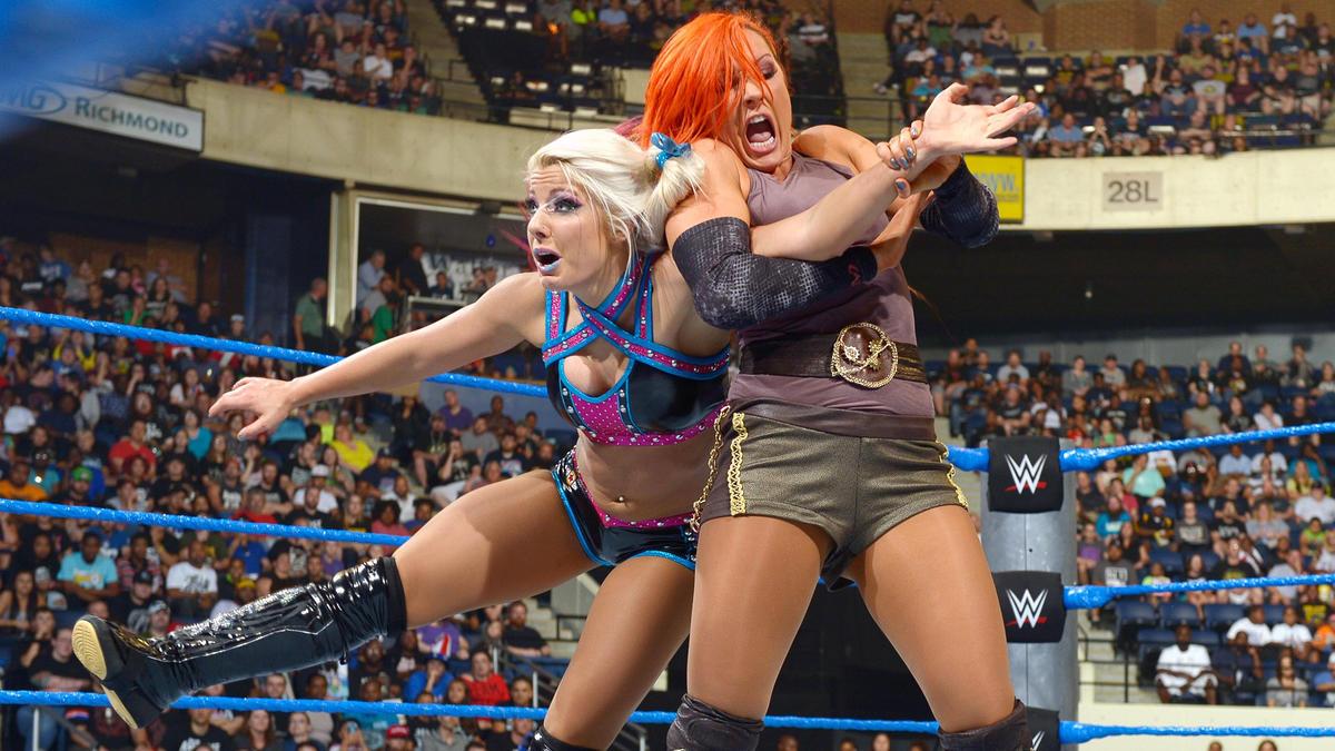 Image result for WWE Backlash 2016 wwe.com Becky Lynch vs Natalya vs Naomi Vs Alexa Bliss vs Carmella vs Nikki Bella