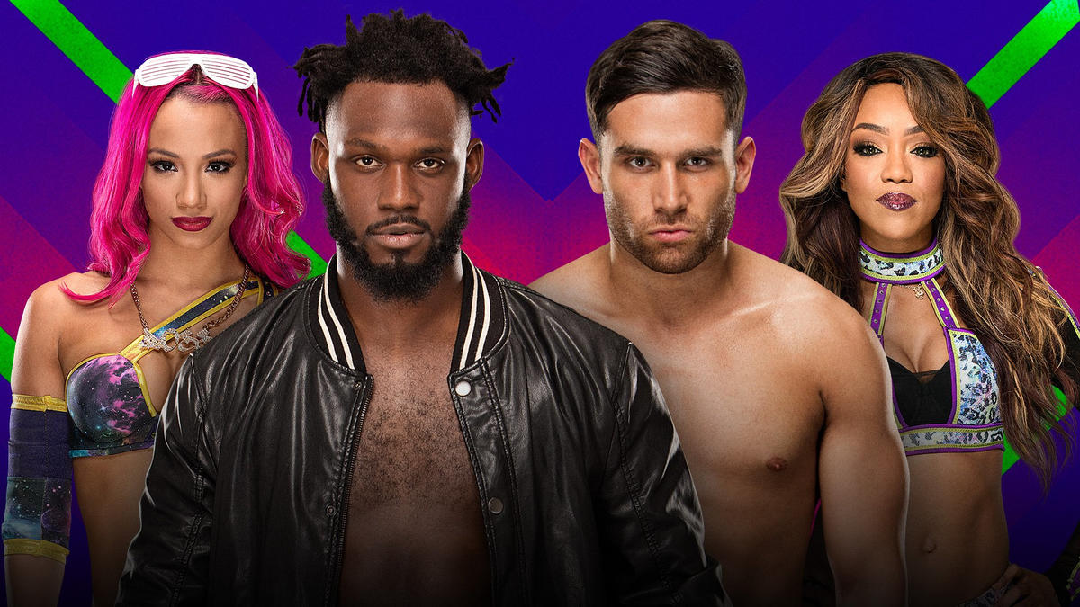 Image result for Mixed tag team match Rich Swann and Sasha Banks vs. Noam Dar and Alicia Fox