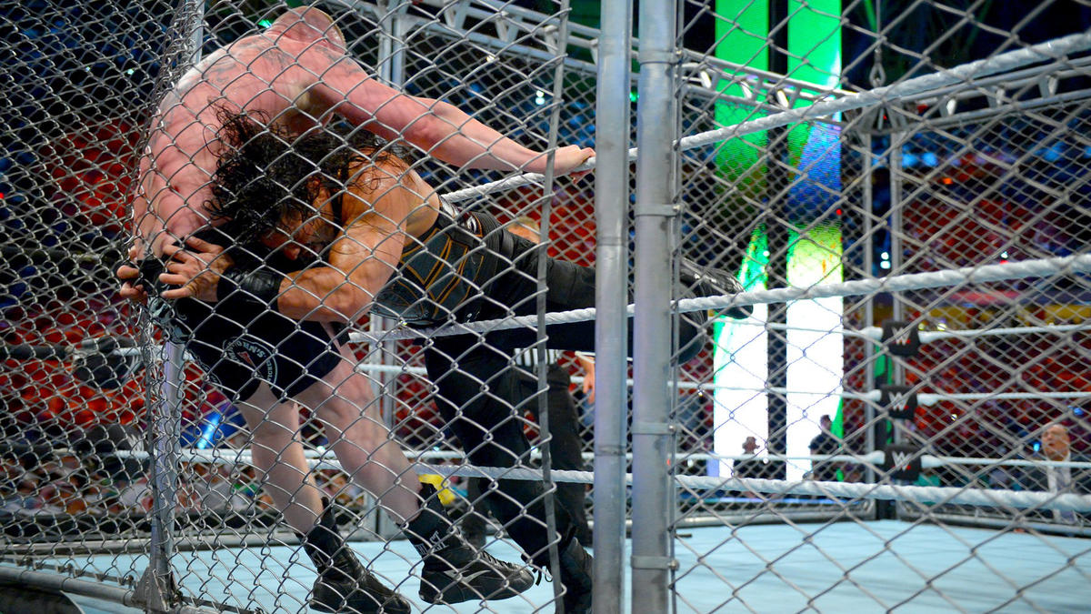 Brock Lesnar def. Roman Reigns in a Steel Cage Match to retain the Universal Championship | WWE