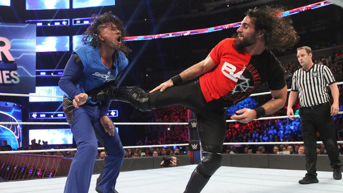 Image result for Seth Rollins throttles Shinsuke Nakamura with 3 dives in a row: Survivor Series 19 November 2018 | wwe news | Wrestling news |