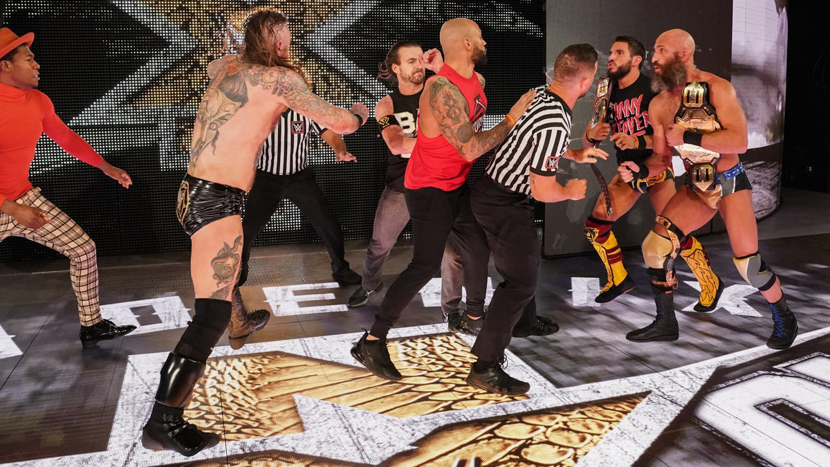 Black, Velveteen Dream & Ricochet brawl with Ciampa, Gargano