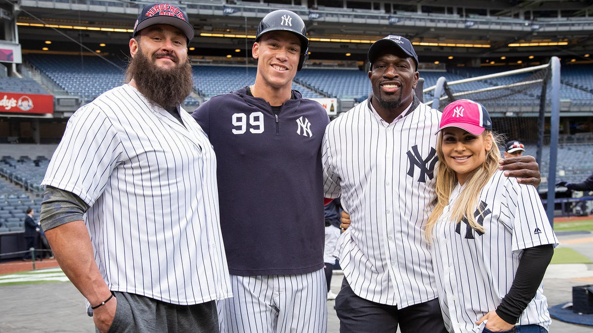 the latest a0851 17db0 Braun Strowman, Natalya and Titus O'Neil at Yankees batting ...