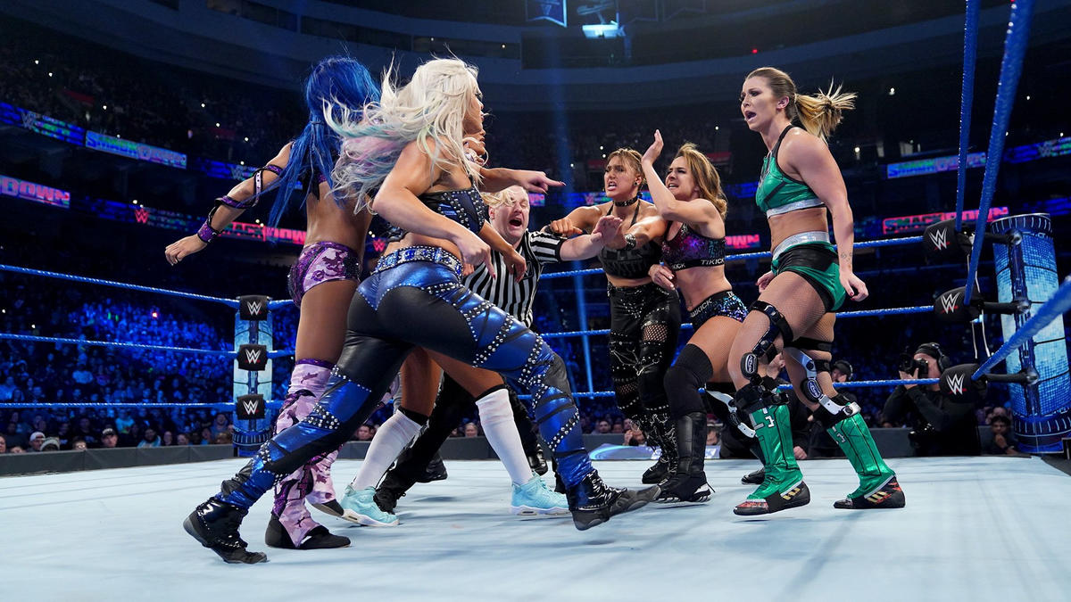 Sasha Banks, Nikki Cross, Carmella and Dana Brooke def. Rhea Ripley, Mia Yim, Tegan Knox & Dakota Kai - WWE