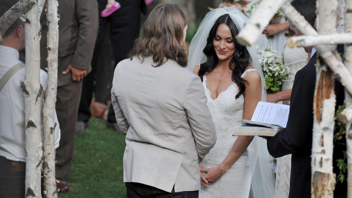 Daniel Bryan and Brie Bella exchange wedding vows.