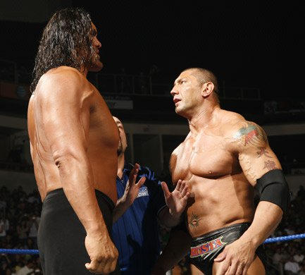 Batista vs the great khali wwe the great khali and batista stand toe to toe as the match begins voltagebd Image collections