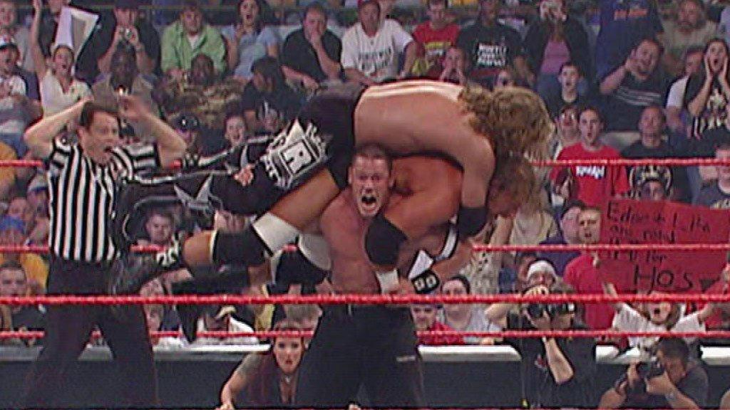 Resultado de imagem para triple h vs john cena vs edge backlash 2006