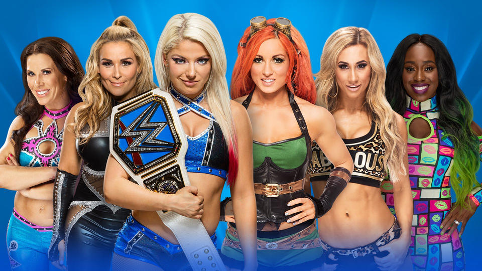 Znalezione obrazy dla zapytania Alexa Bliss (c) vs. Becky Lynch vs. Natalya vs. Mickie James vs. Carmella (w/James Ellsworth) vs. Naomi