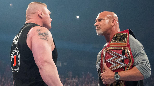 Experience the hard-hitting history between Universal Champion Goldberg and Brock Lesnar