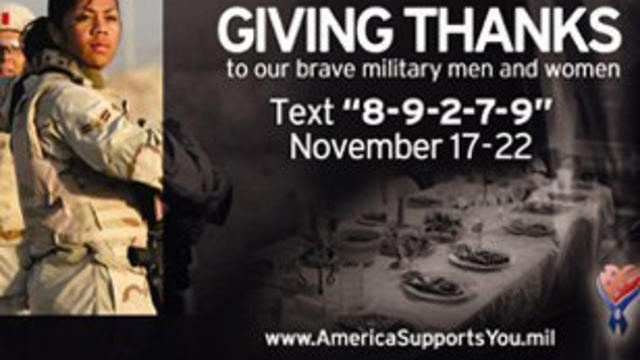 Give thanks to troops via text message this Thanksgiving