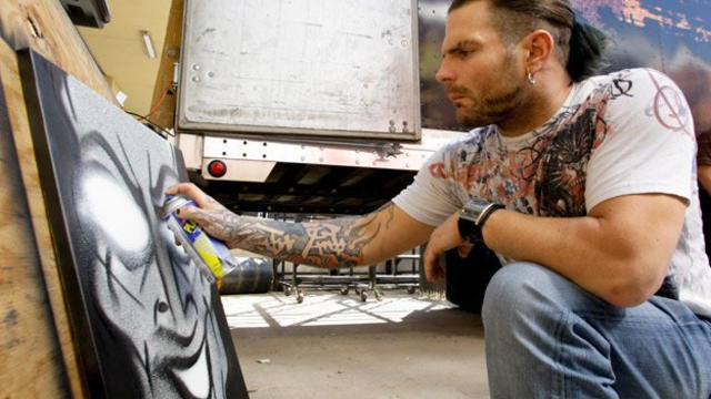 Jeff Hardy paints artwork for WWE auction