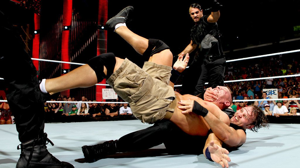 Ryback stands by as The Shield attacks John Cena: Raw, April 15, 2013