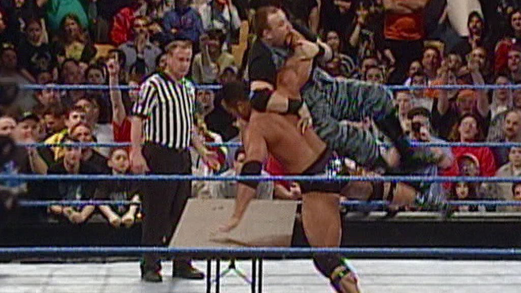 The Rock vs. The Dudley Boyz: Handicap Tables Match: SmackDown ...