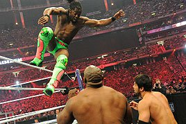Kofi Kingston gets airborne.