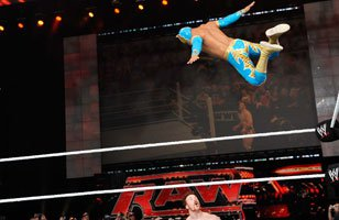 Sin Cara springs into action.