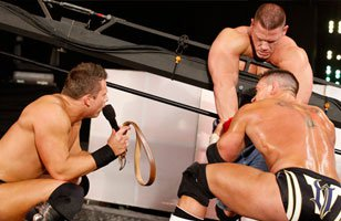 "The Miz & Alex Riley brutalize John Cena during the ""I Quit"" Match."