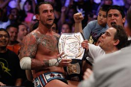 CM Punk flees the Allstate Arena with the WWE Title