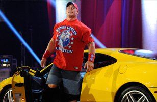 John Cena arrives at Night of Champions in Alberto Del Rio's Ferrari.