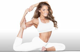 Trish Stratus does yoga.