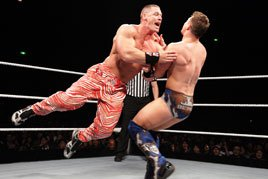 John Cena wears Zubaz pants in the ring on WWE's Japan tour.