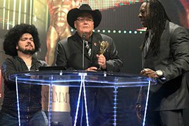 "Jim Ross accepts the ""Tell Me I Did NOT Just See That"" Moment of the Year Slammy Award"