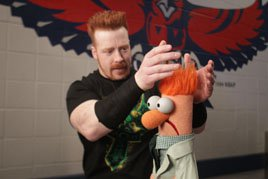 Sheamus and his cousin Beaker at Raw SuperShow