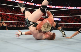 Dolph Ziggler covers Sheamus on a Raw SuperShow