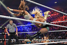Beth Phoenix's Glam Slam from the top rope