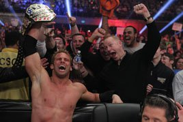 Zack Ryder celebrates with his broskis after winning the U.S. Championship at WWE TLC 2011