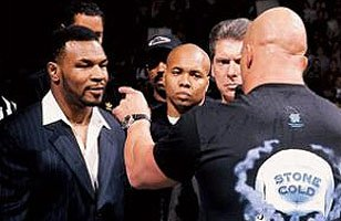 The staredown between Mike Tyson and Steve Austin became an instant classic.
