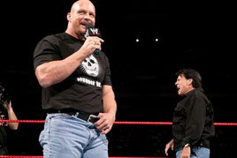 """Stone Cold"" Steve Austin angers his co-general manager, Eric Bischoff"