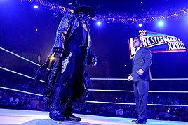 The Undertaker stares down the Superstar who almost broke The Streak, Triple H.