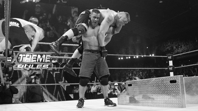 John Cena prepares to give the FU to Brock Lesnar on the steel steps