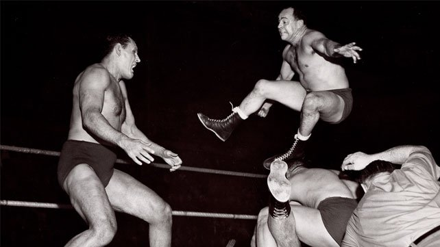 Verne Gagne jumps into action in the AWA.