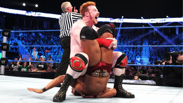 Sheamus locks in the Cloverleaf on David Otunga