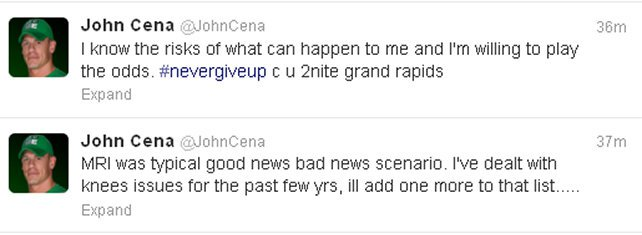 John Cena tweets update on injured knee