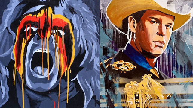 Artist Rob Schamberger paints WWE Legends.