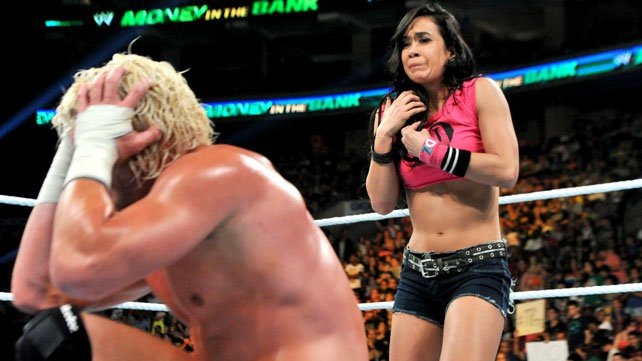 Wwe Aj Lee Sexiest Moments Aj lee costs dolph ziggler the