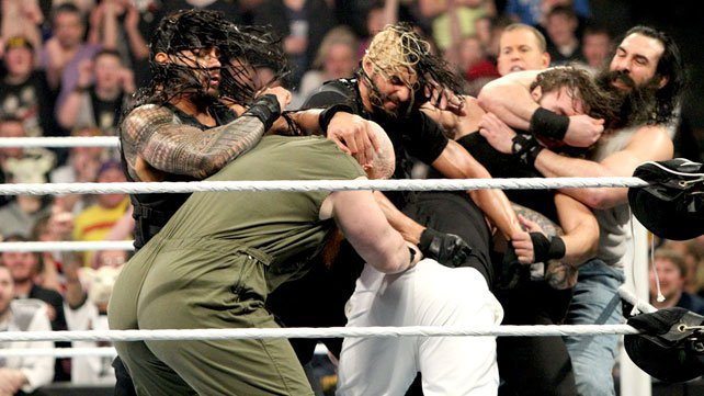 The Shield brawl with The Wyatt Family at Elimination Chamber 2014