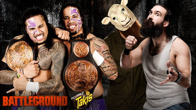 The Usos vs. The Wyatt Family in a 2-out-of-3 Falls Match at WWE Battleground